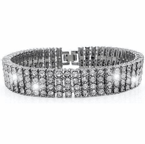 Iced Out Hip Hop Silver Bling 4 Row Bracelet