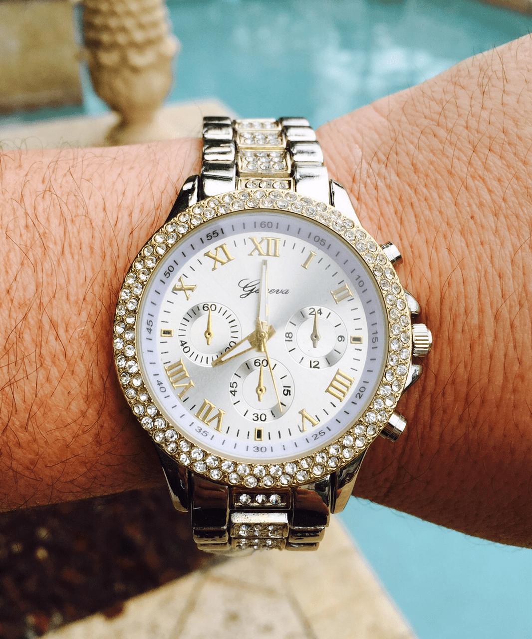 Iced Out Hip Hop Two Tone Gold Silver Geneva Watch Style 3