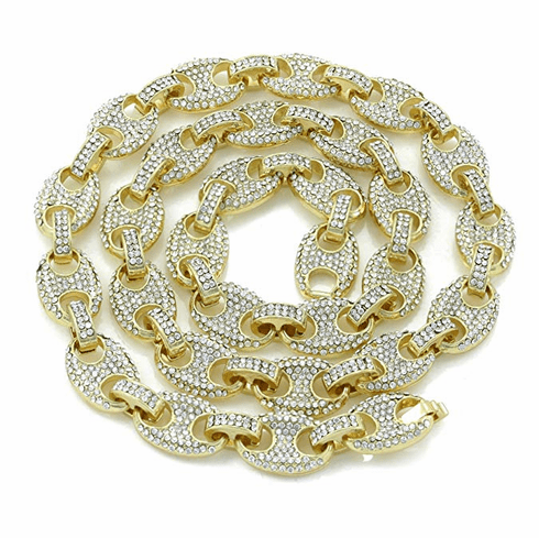 """Iced Simulated Diamond 14K GP Gold 12mm Gucci Link Chain 18"""""""