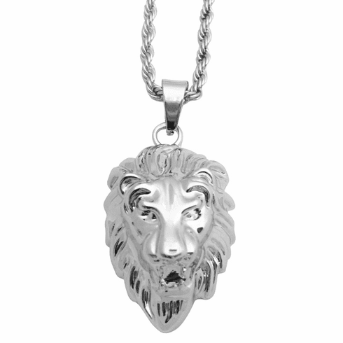 Large Silver Lion Head Pendant Necklace w/ Rope Chain Necklace