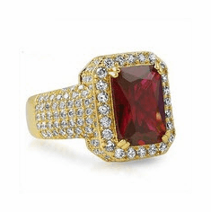 Mens Hip Hop 14K Gold Plated Iced CZ Red Ruby Ring