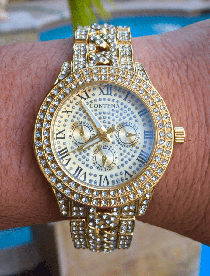 Mens Iced Out Diamond Gold Geneva Contena Limited Edition Hip Hop Watch