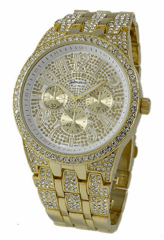 Mens Large Iced Out Hip Hop 14K Gold Plated Geneva Platinum Watch Style 4