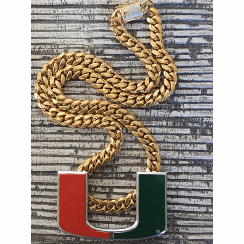 """Miami Hurricanes Turnover Chain Necklace Replica Gold Plated 30"""" Cuban Link"""