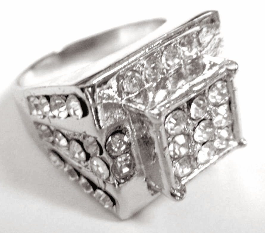 Platinum Iced Out Cluster Hip Hop Ring