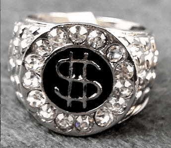 """Platinum Iced Out Hip Hop Ring """"Dollar Sign"""""""