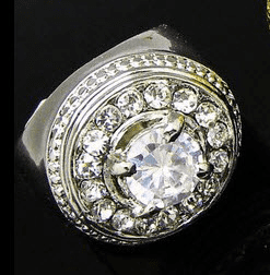 """Platinum Iced Out Hip Hop Ring """"Solitaire Cut"""""""