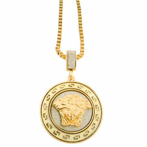 Sand Stone Inlay Medusa Pendant w/ Box Chain Necklace 14K Gold Plated