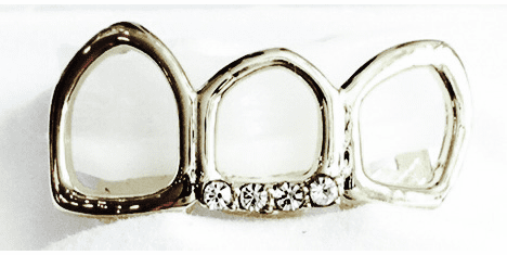 Silver Open Face Grillz - Covers 3 Teeth