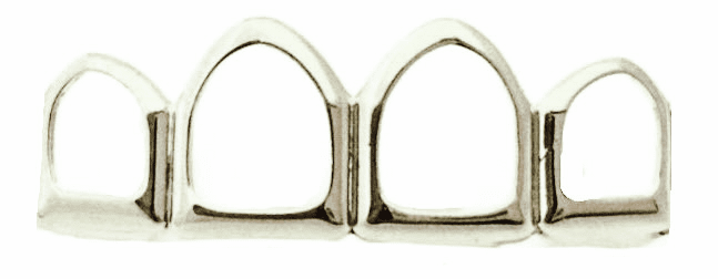 Silver Open Face Grillz - Covers 4 Upper Teeth