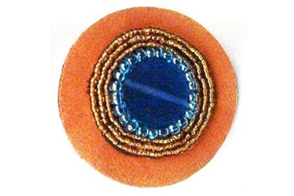 Blue Disc Bead Leather Elastic Ponytail Holder