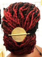 African Brass Medallion Notched Ponytail Holder