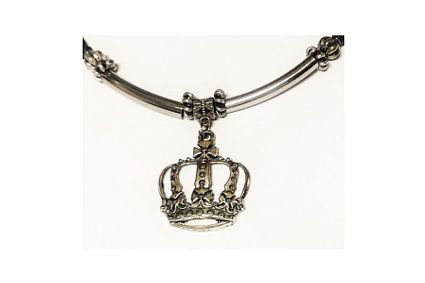 Crown Silver Ponytail Holder One