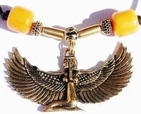 Egyptian Goddess Ma'at Antique Gold Ponytail Holder