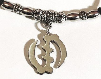 Gyname' Loc Ponytail Holder Silver Metal Medallion Unisex