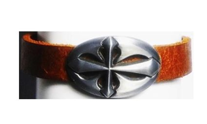 Leather Crest Buckle Unisex Ponytail Holder