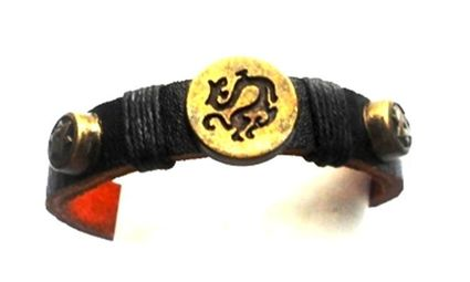 Leather Dragon Coin Unisex Loc Ponytail Holder
