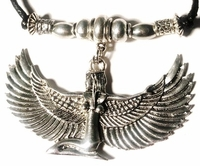 Ma'at Egyptian Goddess Antique Silver Large