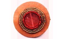 Red Bead Leather Elastic Ponytail Holder