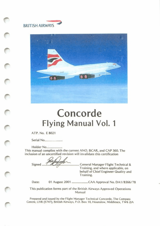 Aerospatiale/BAC Concorde Flying Manual British Airways