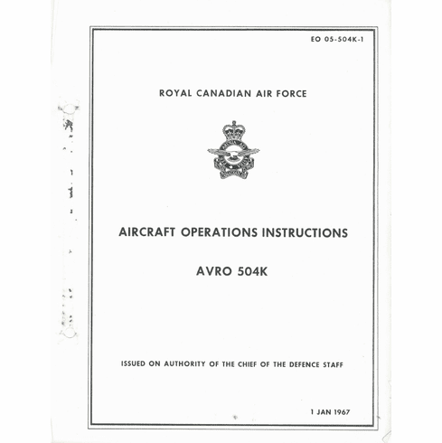 Avro 504K Operating Instructions RCAF