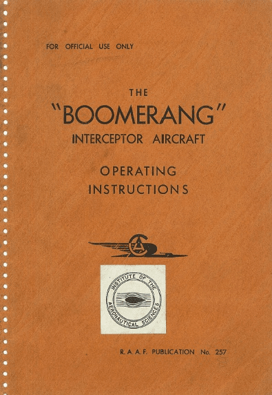 Commonwealth Boomerang Operating Instructions RAAF