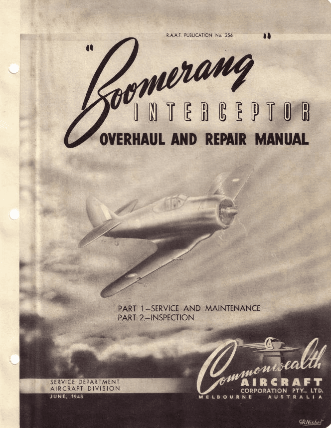 Commonwealth Boomerang Overhaul & Repair Manual RAAF