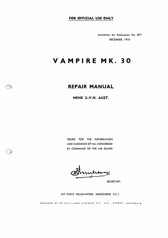 De Havilland Vampire Mark 30 Repair Manual RAAF