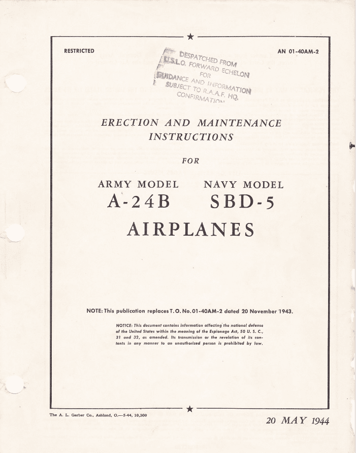 Douglass A-24B Banshee & SBD-5 Dauntless Erection & Maintenance Instructions USAAF/US Navy/RAAF