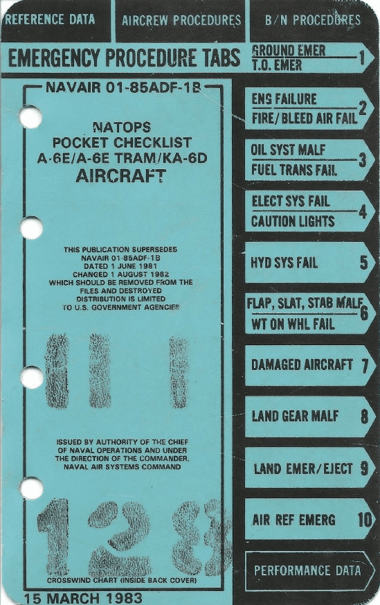 Grumman A-6E, A-6E TRAM, KA-6D Intruder Pocket Checklist US Navy