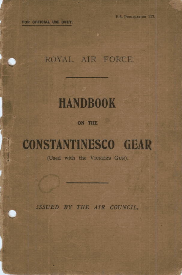 Handbook For The Constantinesco Interruptor Gear RAF