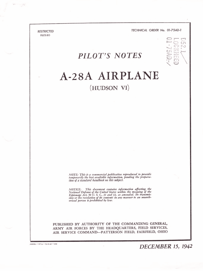 Lockheed A-28A (Hudson VI) Pilot's Notes RAF