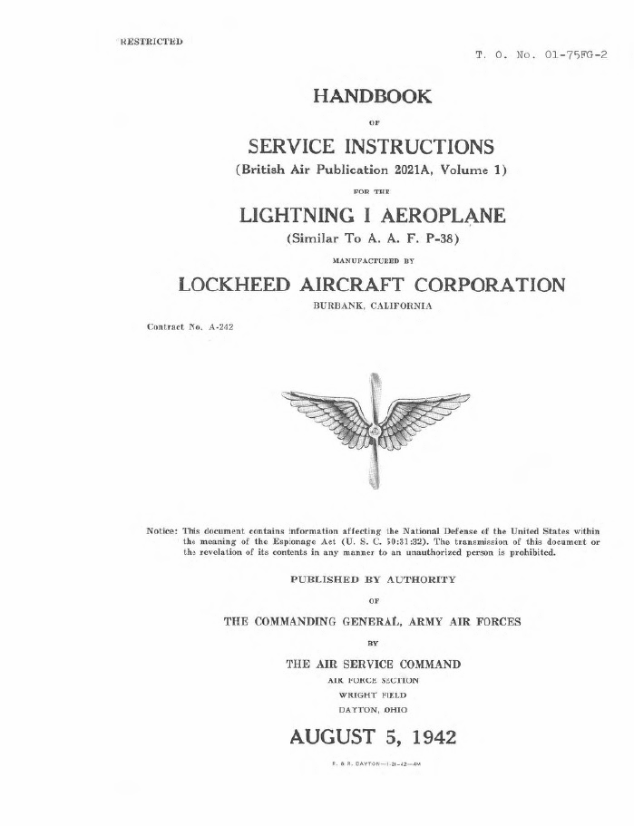 Lockheed Lightning I Handbook of Service Instructions RAF