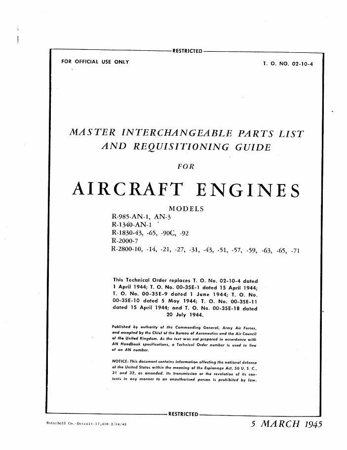 Master Interchangeable Parts List & Requisition Guide For Pratt & Whitney Engines USAAF