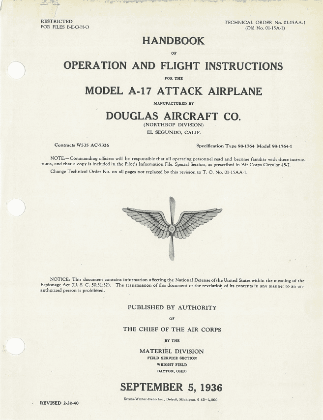 Northrop (Douglas) A-17 Nomad Pilots Flight Operating Instructions USAAC