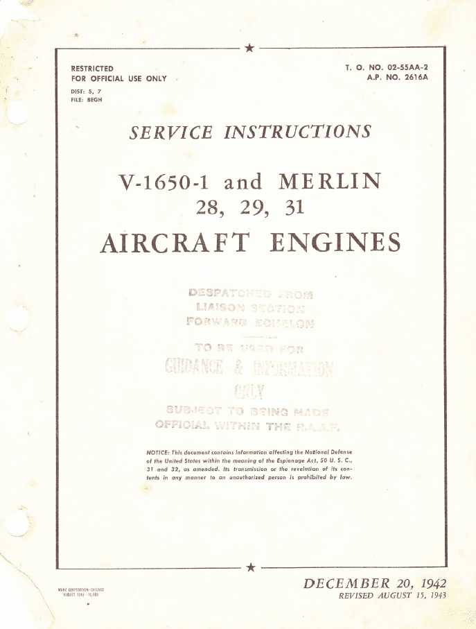 Packard V-1650-1 & Merlin 28, 29, 31 Overhaul Instructions USAAF/RAF