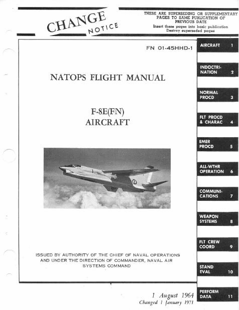 Vought F-8E (FN) NATOPS Flight Manual French Navy