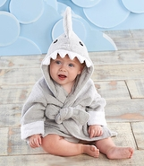 "Baby Aspen ""Let The Fin Begin"" Gray Hooded Shark Robe"
