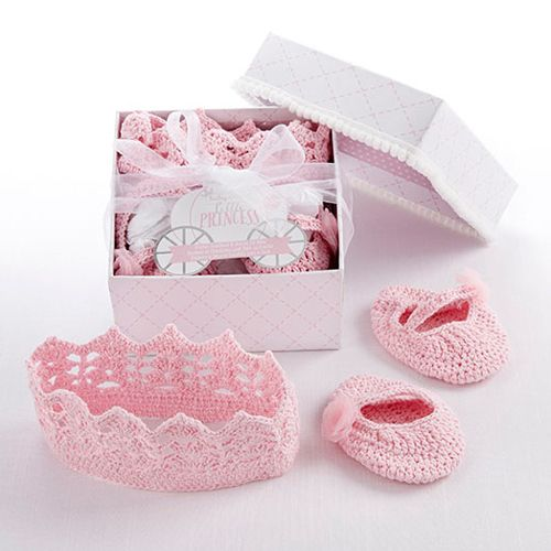 "Baby Aspen ""Little Princess"" Knit Headband and Booties Gift Set"