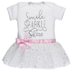 Baby Ganz Diaper Shirt Tutu Dress - Smile Sparkle Shine 0-6 Months
