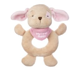 Baby Ganz My First Puppy Plush Hand Rattle - Pink 6""