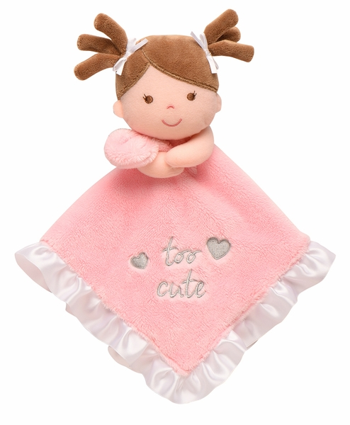 """Baby Starters Snuggle Buddy """"too cute"""" Doll w/Pigtails Blanket"""