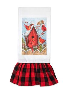 Brownlow Cardinal House Christmas Plaid Tea Towel