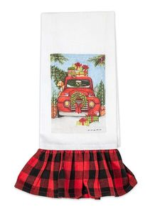 Brownlow Christmas Truck Plaid Tea Towel