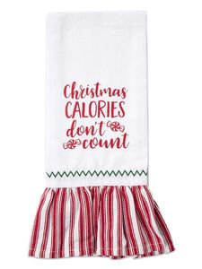 Brownlow Farmhouse Kitchen Tea Towels - Christmas Calories Don't Count