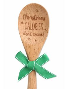 Brownlow Sentiment Wooden Spoons - Christmas Calories Don't Count