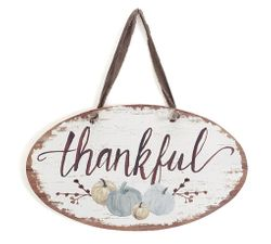 "Burton and Burton Wall Hanging ""Thankful with Pumpkins"""