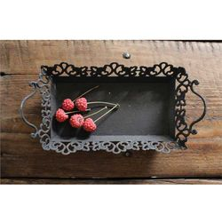 Creative Co-op Decorative Metal Tray w/ Handles - Rustic Black