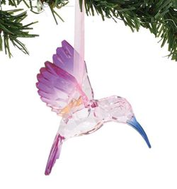 Enesco Dept 56 XMBAR Acrylic Hummingbird Ornament - Happy Heart - Purple