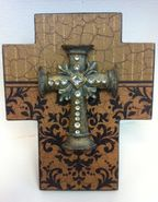 Faith Collection Standing Cross with Stones - Brown and Tan Print